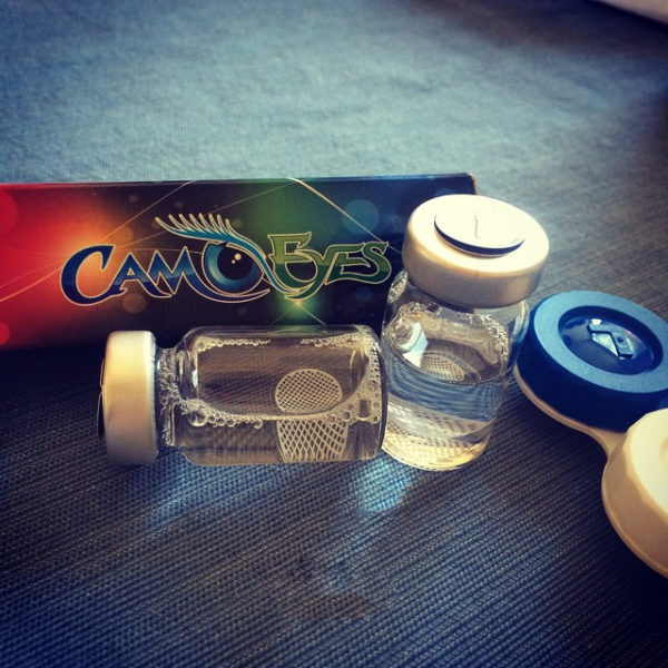 CamoEyes White Mesh Contact Lenses Box and Vials